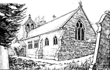 Drawing of Seaborough Church, Dorset, England